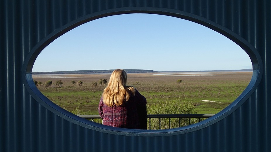 View over the Lake Muir wetlands in Western Australia. Viewing platform had an eye shaped opening...