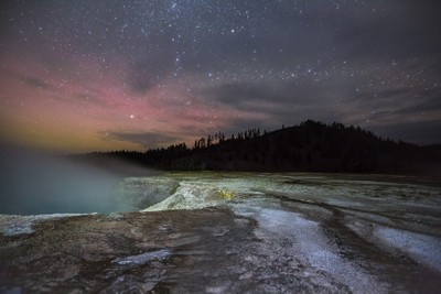 Grand Prismatic northern lights