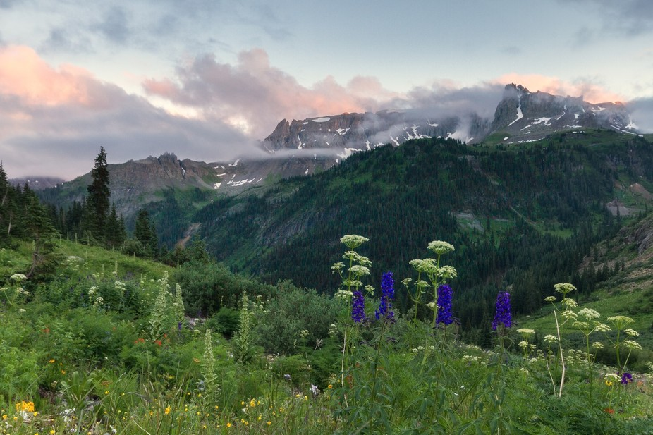 Another view of Yankee Boy Basin at sunset.