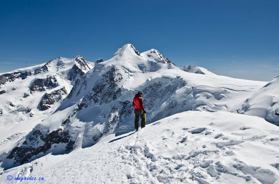 On Pollux Peak, Switzerland overlooking a line were about to ski a day later off of Castor Peak r...