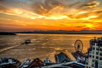 Ferry & Ferris Wheel at Sunset On Elliott Bay Seattle WA
