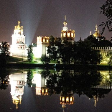 I took this photograph during our Volga River boat trip in the year 2013. This photo was taken in Moscow, during the night. I especially liked the reflection of the walls of Kremlin on the lake.
