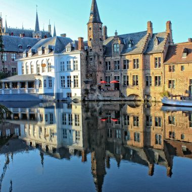 I took this photo in the year 2012 when we went to Brugge in Belgium. The water was calm and this gave me the opportunity to take Chrystal clear reflections of buildings.