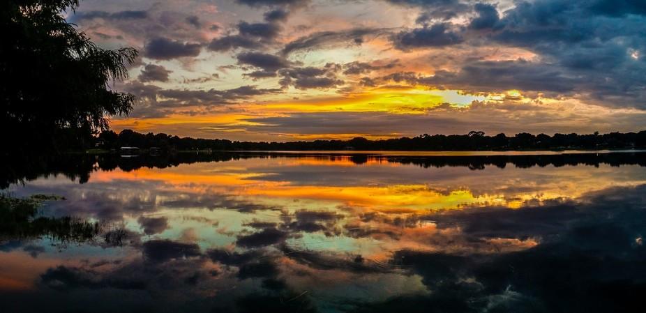 Sunset over Lake Sybelia in Maitland, FL