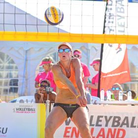 Women's final of the Volleyball England Beach Tour event in Margate