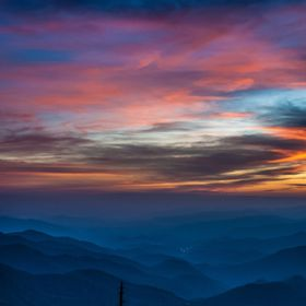 Sunset from Waterrock Knob Overlook on the Blue Ridge Parkway in North Carolina, July 2015.