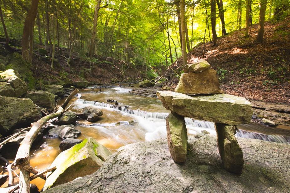 Spencer\'s Creek rock stacks