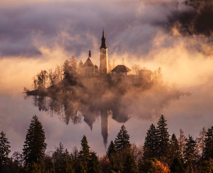 Mystical Sunrise & Lake in Mountains by alekrivec - In the Center Photo Contest