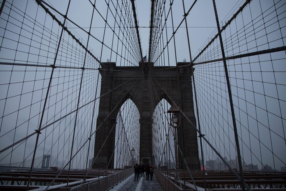 On a very cold, snowy February Day in New York, what better than a walk along Brooklyn Bridge