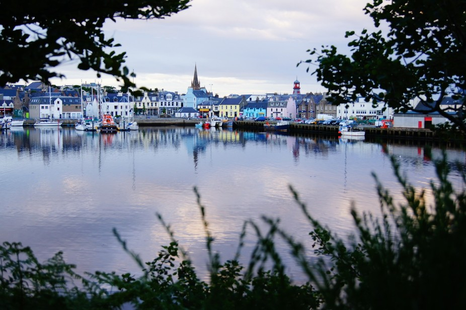 Looking across from Lews Castle grounds towards Stornoway Harbour, Isle of Lewis