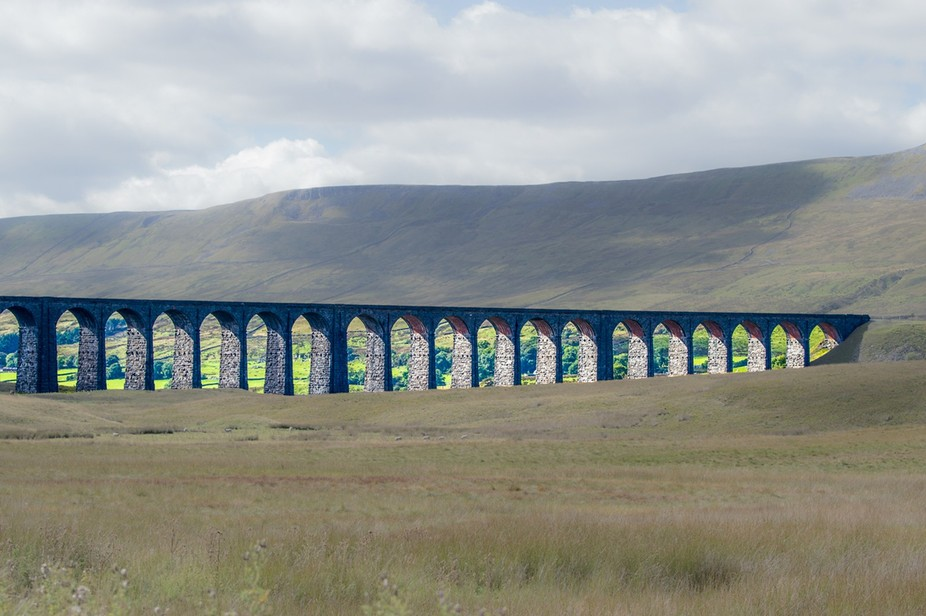 This is the Ribblehead Viaduct on the Yorkshire Dales.  I have adjusted the photo in order to mak...