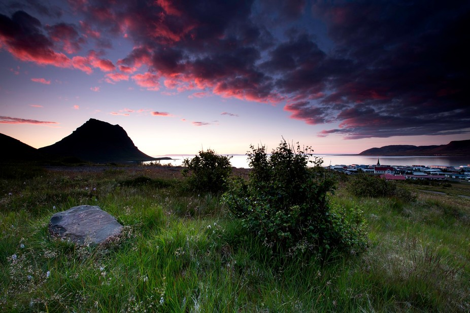 Sunset by the town of Grundarfjörður Iceland