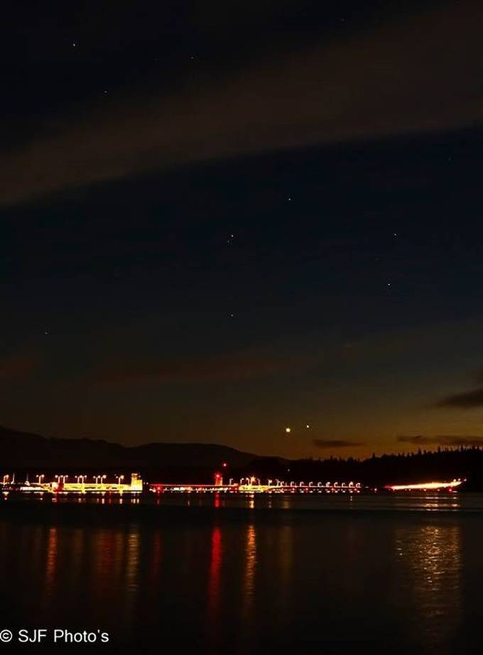 This is the Hood Canal Bridge , Kitsap Cty WA, With the Planets Venus and Jupiter