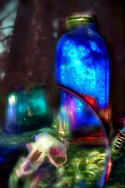 Bottle and Skull