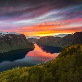 I shot this beautiful sunset by Aurlandsfjord a few weeks ago, from Stegastein viewpoint. I have been there several times in the past few years, ...