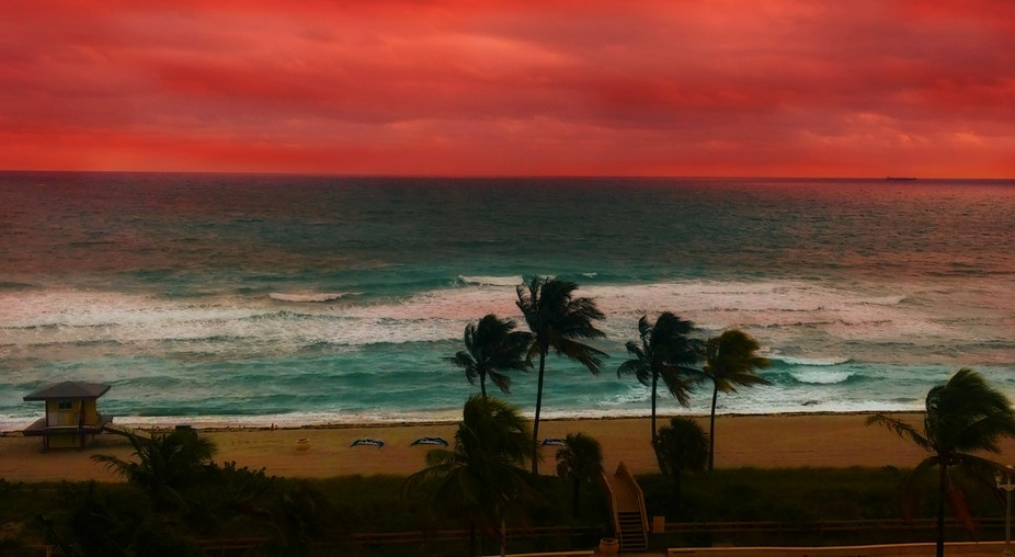 miami beach pink skies
