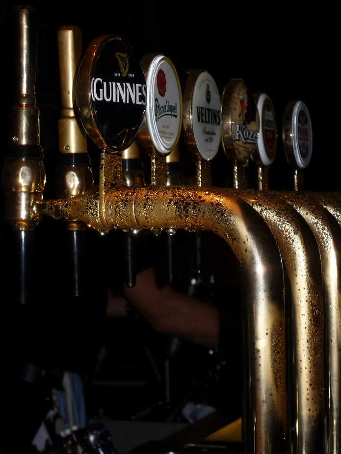 Condensate collects on cooled beer pumps.