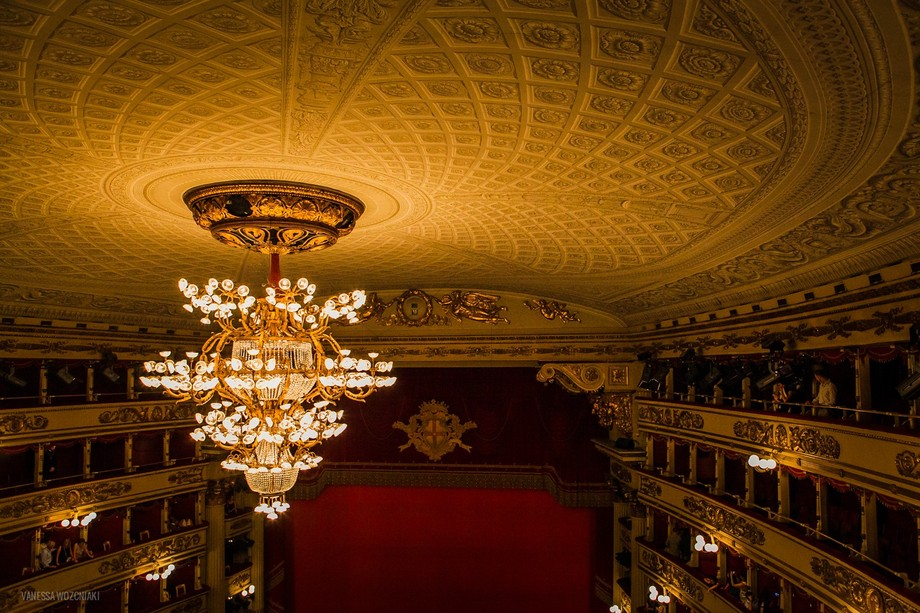 The spectacular chandelier at La Scala Theatre in Milan.