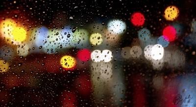City Night Bokeh On Windshield