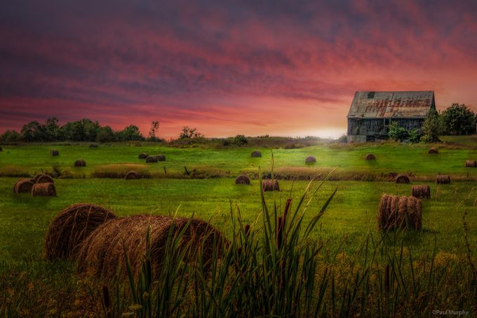 Sun Sets On Farm by PaulMurphy - Layered Compositions Photo Contest