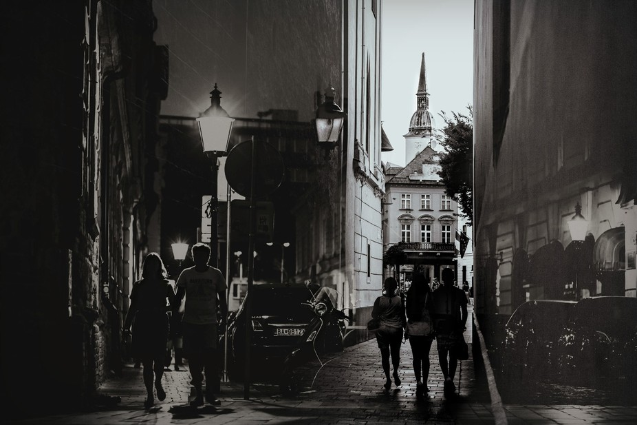 A layering of two streetscape images that I took while roaming Bratislava, Slovakia; one was take...