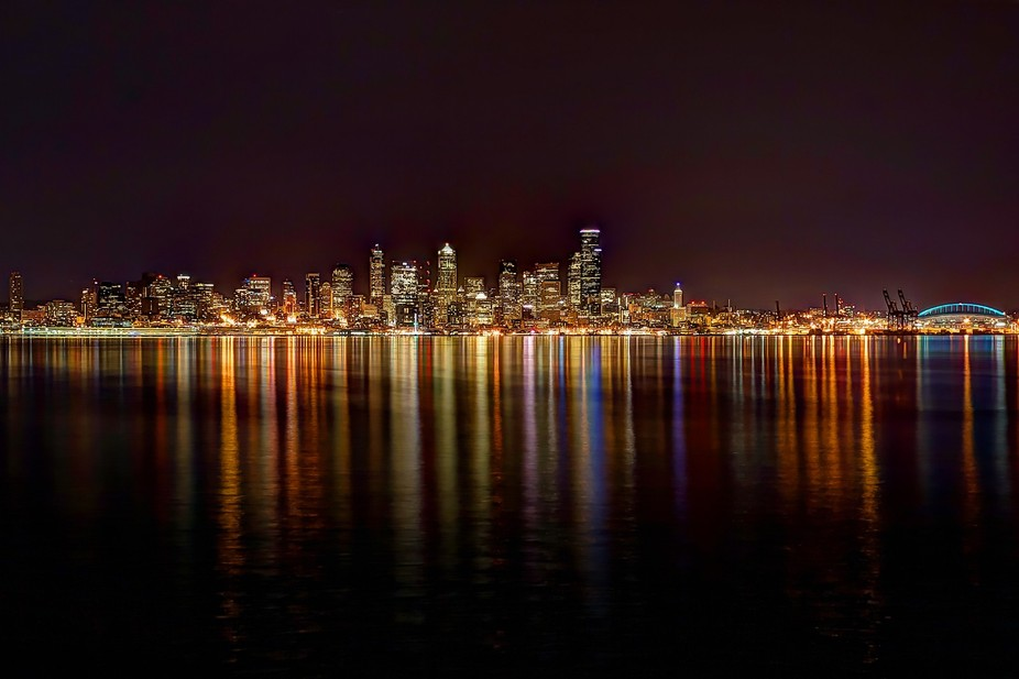 Evening view of the Seattle skyline from across Elliot Bay...