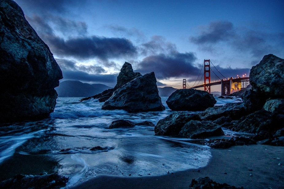 This gorgeous view of the Golden Gate Bridge was taken at Marshall Beach, near The Presidio, in S...