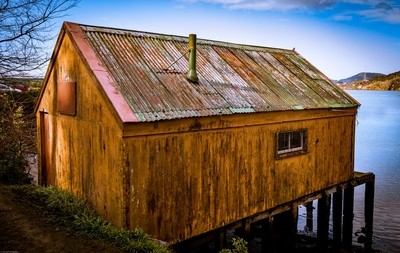 The weathered boatshed