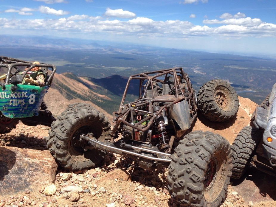 RC rock crawler on PIkes Peak summit.