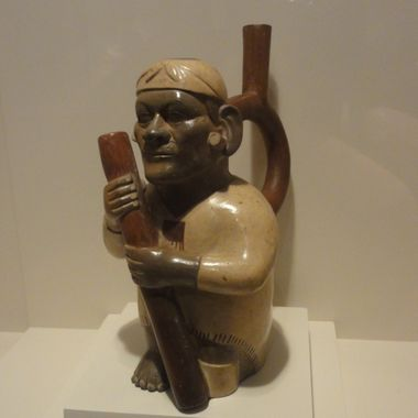 Moche Pottery Man with Staff
