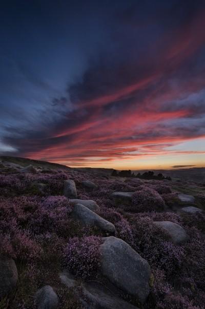 Sunset over Ilkley Moor, West Yorkshire, United Kingdom.