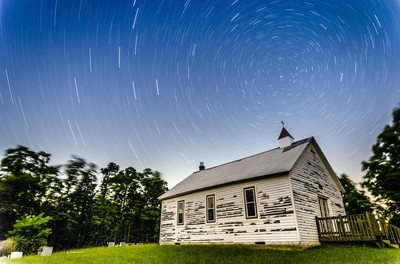 Star Trails at High Hill Chapel