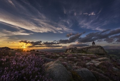 Sunset over Wharfedale viewed from Ilkley Moor, West Yorkshire, United Kingdom