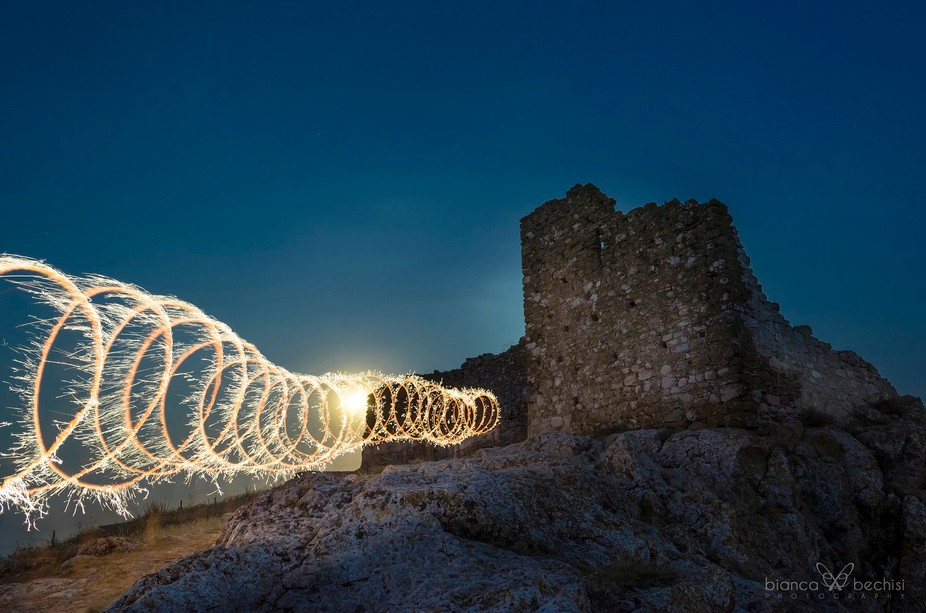 light painting at Enisala