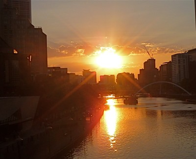 Melbourne's Southbank on the Yarra at Sunset, Aust.