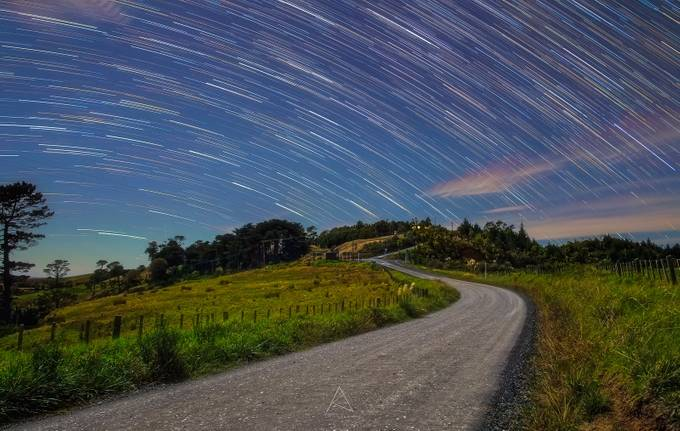 Moonlit Startrails by amyth91 - Country Roads Photo Contest