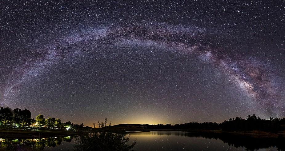 Milky Way Panorama over Lake Cuyamaca, California