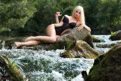 On the River in black Lingerie