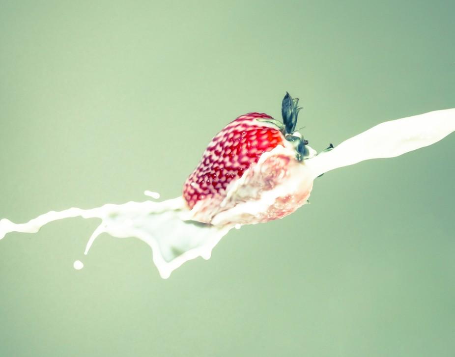 Strawberry splash with milk.