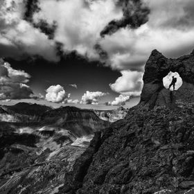 This dramatic black and white photo from Teakettle Mountain showcases the San Juan Mountains of Colorado near Telluride and Ouray.