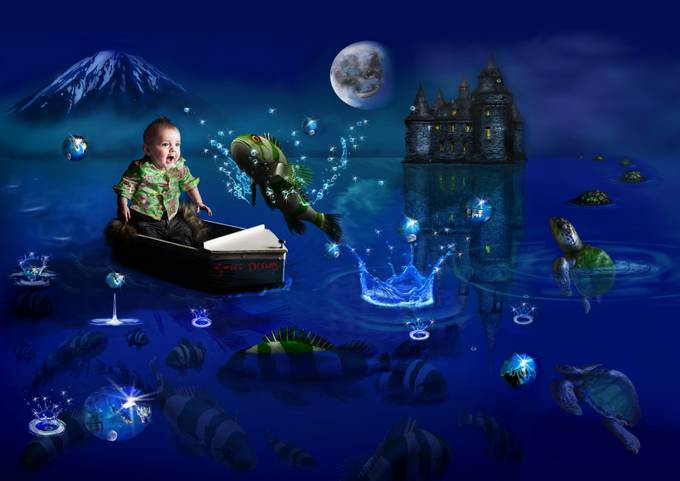 A little boy dreams of a jumping fish, a curious turtle and a distant castle. Sweet Dreams.