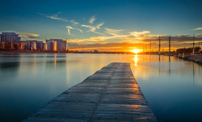 Sunset @ End Of Boat Dock by POLCHIEF - Boardwalks Photo Contest