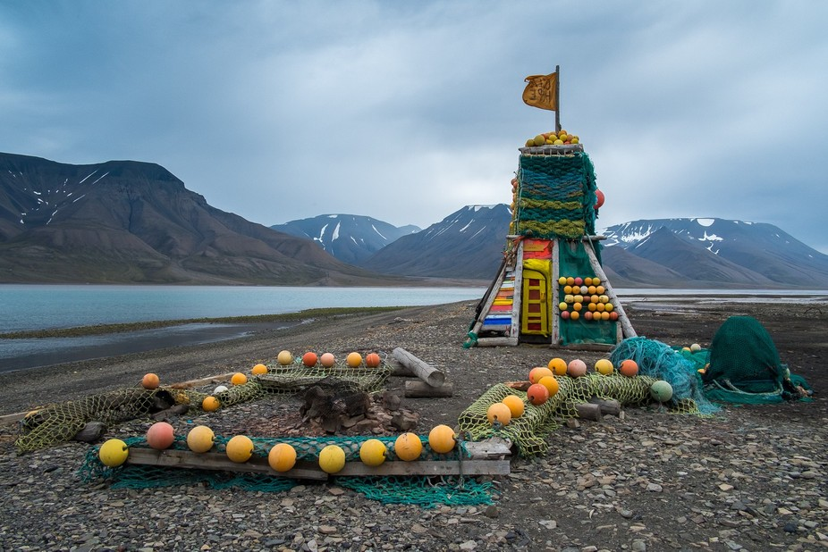 The Ocean Hope project used only materials that were washed ashore in Svalbard to build this play...