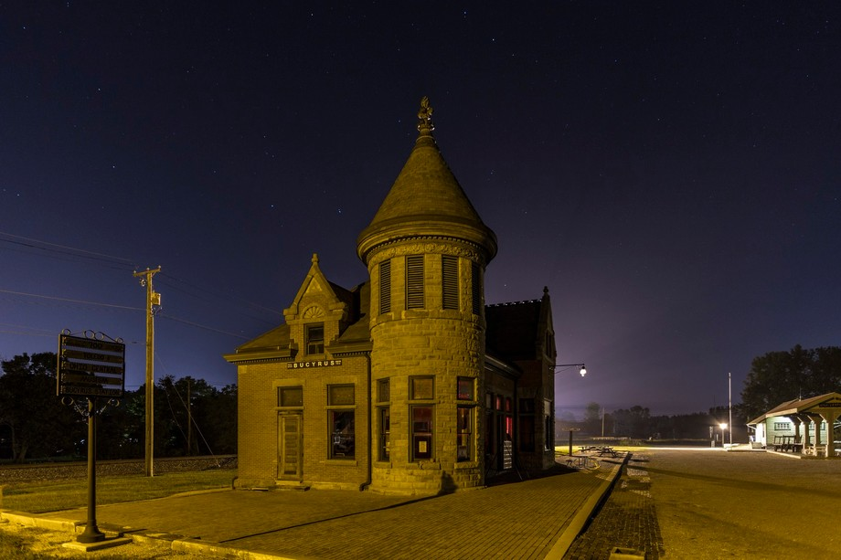 Bucyrus Ohio's Train Station is very active as trains come through the neighborhood quit...