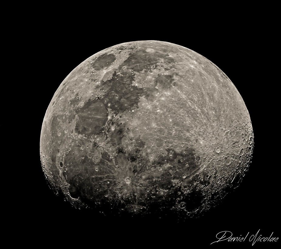 This is a composite image, made from 12 images and stitched together to create this final Moon pa...