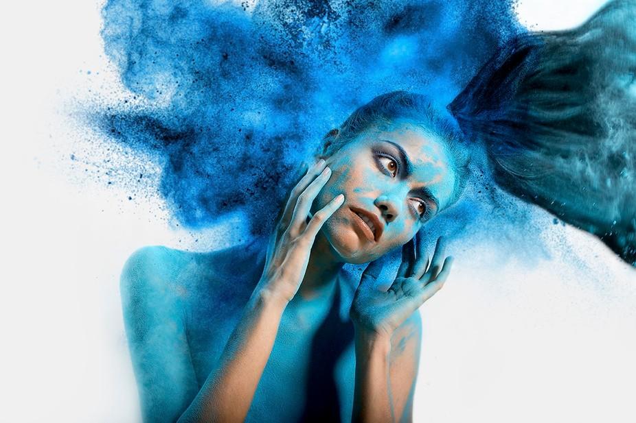 Shara McGlinn in powder blue.