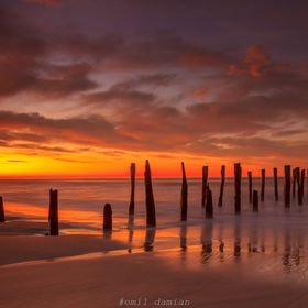 Sunrise at St. Clair Beach, Dunedin, South Island, New Zealand taken mid-autumn of 2015.  The beach and the dunes are often the victims of erosio...