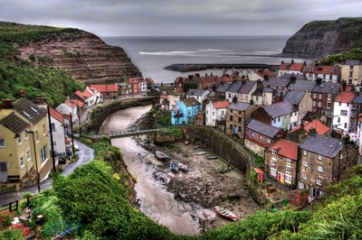 """Raining over Staithes, North Yorkshire"""