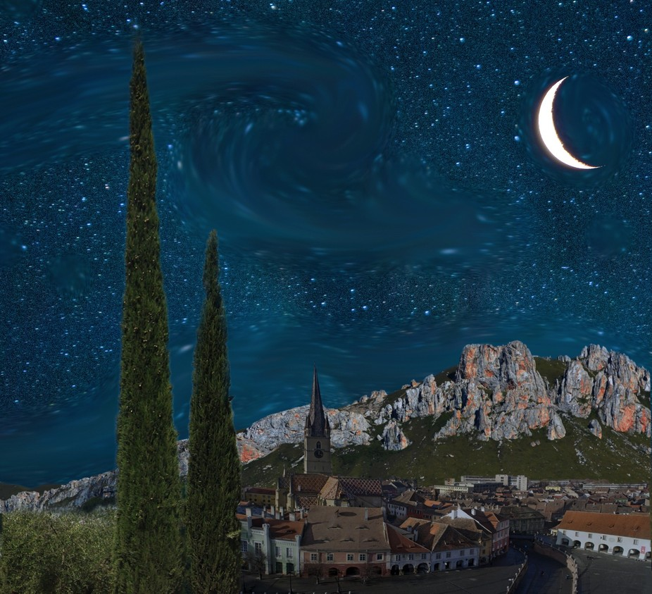 Composite collage of Vincent Van Gogh's 19th Century painting