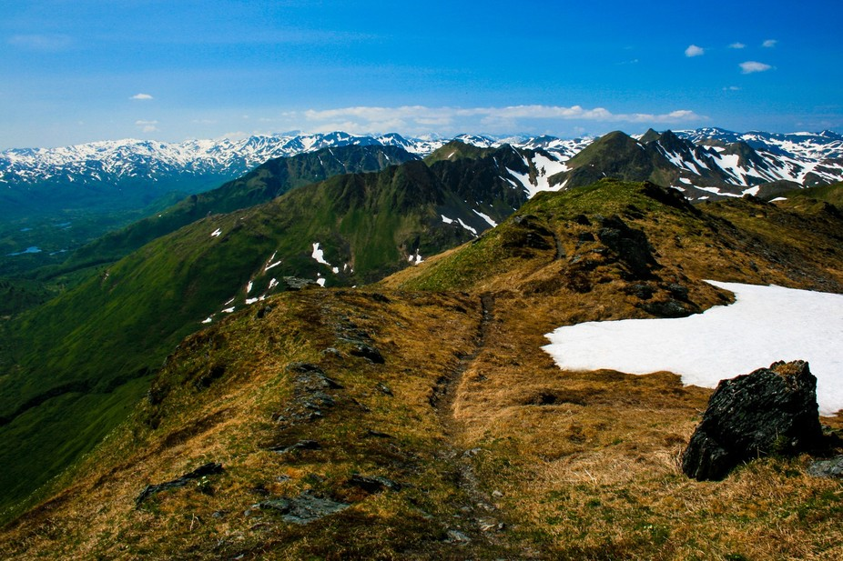 The trail continues atop Barometer Mountain, Kodiak, Alaksa.